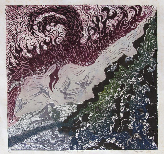 River of Life, Limited edition linoleum block print, printed and signed by artist