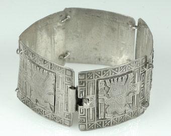 PERUVIAN Vintage Sterling Silver Panel Bracelet  60s bracelet Inca designs