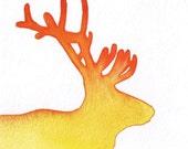 Firey Caribou Head Silhouette Ombre Watercolor - Orange Yellow, 5 x 5