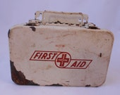 Vintage White Metal First Aid Kit with Wall Mount Option