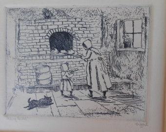 Ed Gifford Original Print Baking Bread, Amish