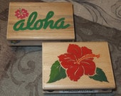Aloha and Hibiscus Rubber Stamp Set