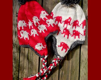 A set of 2 hand knit hats, made of 100% wool yarn, red, silver and dark gray -- marching elephants