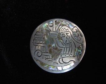 Vintage Sterling Silver and Abalone Brooch - Marked