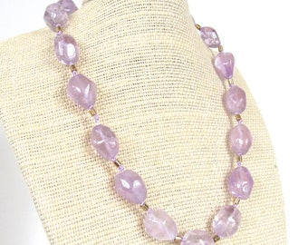 Vintage Monet Purple Amethyst Glass Necklace