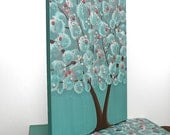 Nursery Art Girl - Tree Painting on Canvas Triptych - Teal and Pink Wall Art - Medium 35x14