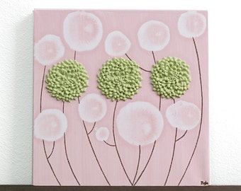 Girl Nursery Decor Flowers in Pink and Green Textured Wall Art - Small 10x10