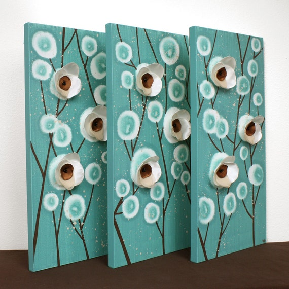 Teal And Brown Wall Art Home Decor Mixed Media Artwork On