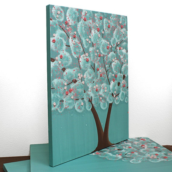 Girls Bedroom Decor Tree Painting On Canvas Textured Art