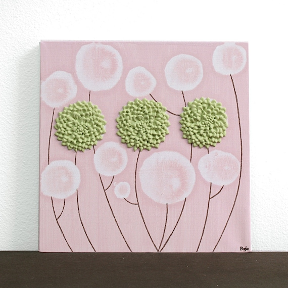 Pink And Green Wall Decor For Nursery : Flower nursery decor in pink and green baby girl by amborela