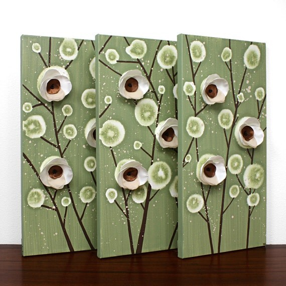 Canvas Art - Orchid Painting - Original Wall Art Triptych - Green and Brown Home Decor - Medium 32X20 - MADE TO ORDER