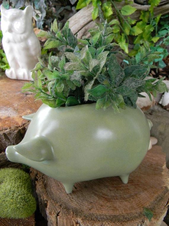 Pig Planter   Ceramic Glazed from a Vintage mold design -its sage