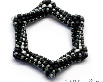 SALE Highly Unlikely Hexagon Beaded Bead No.3