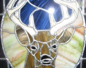 Stained Glass Deer Head in a glass and bevel frame