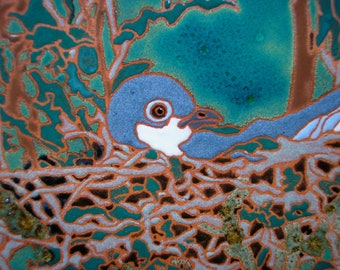 Kingbird Mother on Nest, AVAILABLE NOW, for the bird lover, sink backsplash, fireplace surround