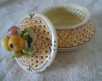 VIntage ITALIAN FRUIT CONTAINER Hand Painted Porcelain Old World With Floral Top Gorgeous Open Weave Cottage Home Style Home Decor