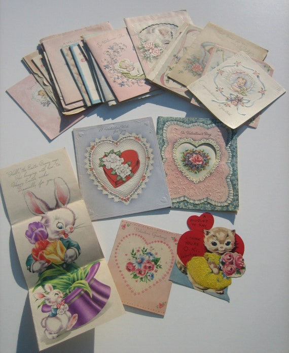RESERVED FEB THIRD lot of 30 vintage Greeting Cards New Baby Valentine Easter Birthday