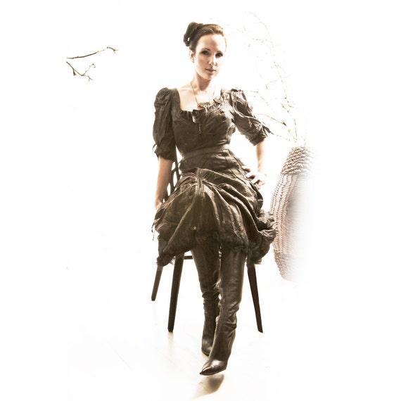 Silk Dress SAVU  Handmade Black smoke hustle bustle romantic Victorian modern fashion Design