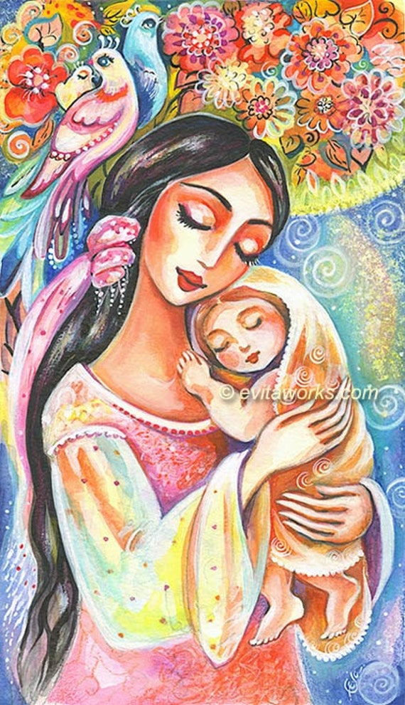 Items similar to Mother and Child Painting, Mother and ...