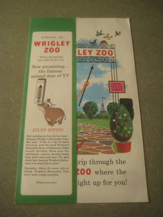 Vintage Wrigley's Zoo Pop Up, Hildy Hippo, 1960s Gum Advertising, Child's Pop Up Animal