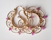 SAMPLE SALE 50% Off - Leela: Bright Natural Pink Sapphire Gemstones and Gold Medium Filigree Hoop Earrings, Precious, Intricate, Exotic