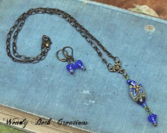 Iris Garden - Handmade Lampwork Glass Bead - Necklace and Earring Set