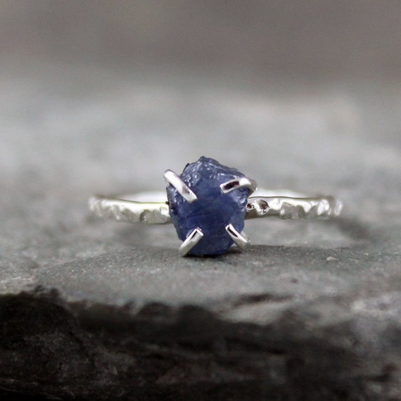 Uncut Raw Rough Blue Sapphire Ring - Sterling Silver Solitaire  -  Blue Raw Gemstone Ring - September Birthstone Ring