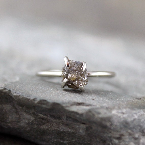 RESERVED - Diamond In The Rough Engagement Ring - One Carat Rough Uncut Diamond  and 10K White Gold Ring