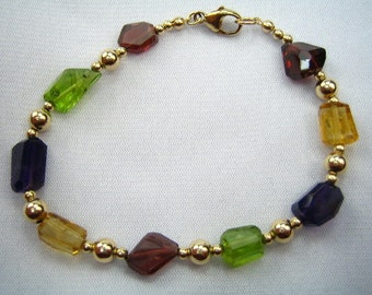 Golden Gems Chunky Gemstone Bracelet