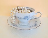 Vintage Blue Floral Teacup and Saucer. Alice in Wonderland Inspired. Pretty Tea Set. Dainty. Romantic. Johann Haviland China. 1950s