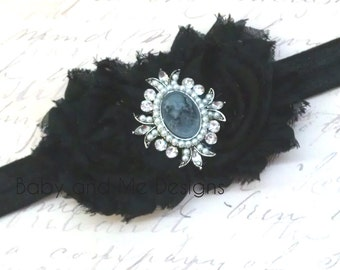 Black Shabby Chic Frayed Rose Headband to match Petti Lace Rompers w/ pearls and crystals