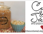 Pantry Labels  Popcorn, Sweet Treats, Oatmeal and Granola  VINYL LETTERING Wall Saying