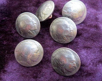 coin buttons 6 Indian head buffalo nickle real coin