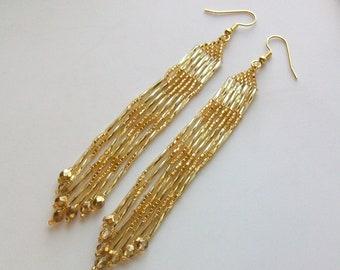 Gold Czech Crystal Beaded Earrings