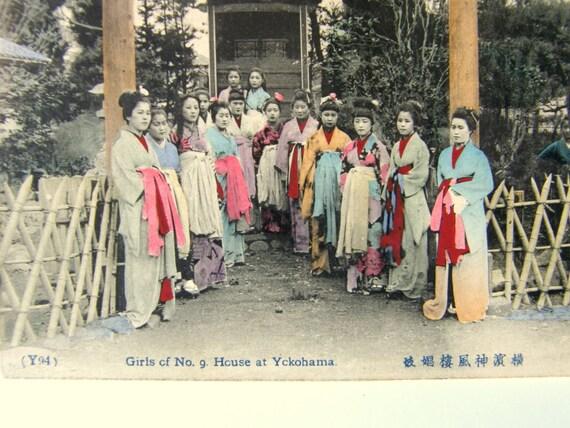 Hand-Colored Postcard, Japanese Brothel: Girls of No. 9 House at Yokohama, Y94 - Free Shipping in US