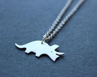 Triceratops necklace - sterling silver