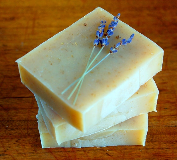 Lavender Oatmeal - organic soap, gentle and exfoliating with french lavender essential oil