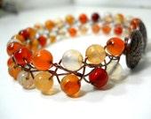 Multi Colored Bracelet, Romantic Gemstone Jewelry, Beaded Wire Bracelet with Antiqued Bronze Flower Button Clasp, Orange Rust Yellow Jewelry
