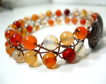 Multi Colored Bracelet, Romantic Gemstone Jewelry, Beaded Wire Bracelet with Antiqued Bronze Flower Button Clasp, Orange Rust Yellow Jewelry