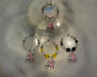 Poodle Dog Colored  Pink Wine Charms w pouch