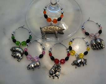 Pig Piglet Pig lover Farm  Wine Charms WITH POUCH