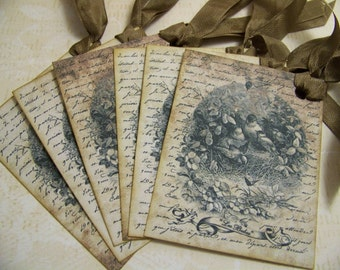 Baby Tags Baby Bird and Nest Tags French Vintage Les Bebes Gift Tags Wish Tags - Set of 6