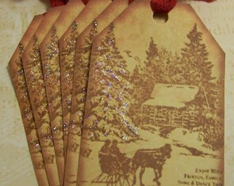 Christmas Tags Vintage Style Horse and Sleigh Sepia Tones - Set of 6