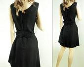 Vintage Party Dress, 1960s Black Dress, 60s Cocktail Dress, 60s Rhinestone LBD, Black Party Dress, medium