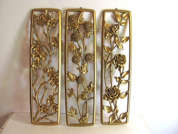 Vintage Hollywood Regency Trilogy //  Large Golden Floral Wall Panels.....3 Panels in Gold