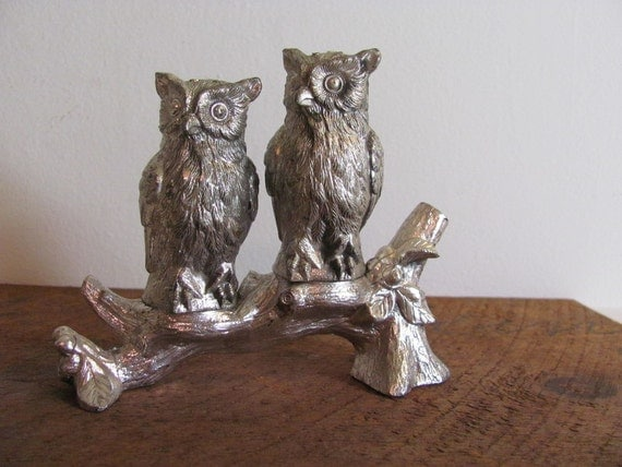 Reserved for fairiedream Vintage Silver Owls Salt and Pepper Shakers on a tree branch