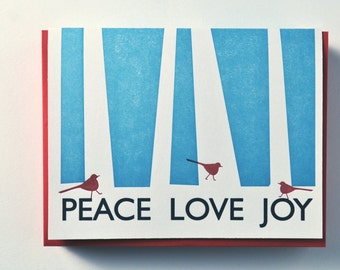 Letterpress Holiday Cards Peace Love Joy Cardinals Set of 12 Christmas Cards