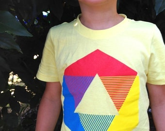 Color Wheel Shirt, lemon yellow short sleeve t-shirt for baby, toddler, and youth sizes. Rainbow colors. originial Little Lark design