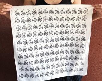 Rad Bike Bandana, hand printed bandanas, bandana for women, bandanas for men, reusable cloth, festival bandana, summer hiking beach clothing