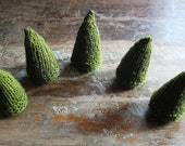 pine cone  trees & mountains in olive green - set of five / rustic - woodland - christmas home decoration - ooak